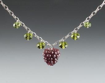 Boysenberry Necklace w realistic glass boysenberry lampwork bead + crystals on sterling silver chain. Fruit jewelry w art glass sculptures