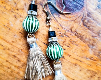 Boho Tassle Bead Earrings, Long Green Rustic Earrings, Earthy Dangle Tassle Earrings, Unique Gypsy Tan Earrings, Rhinestone Crystal Earrings