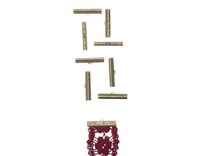 50 pieces  35mm (1 3/8 inch)  Antique Bronze Ribbon Clamp End Crimps - Artisan Series