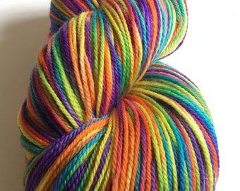 RAINBOWS Mini or full skein hand painted superwash fingering sock weight or dk merino yarn/ nylon high twist