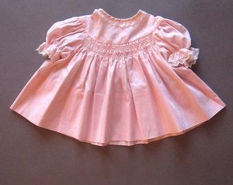 Vintage Pink Smocked Baby Dress Lace Shirt Handmade