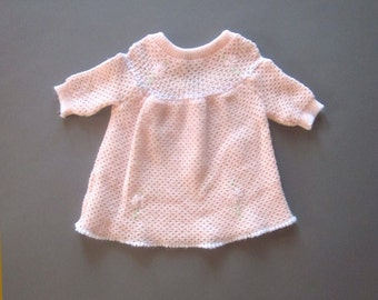 Vintage Baby Girl Sweater Pink Embroidery 6-12 month toddler