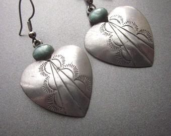 Sterling Silver Heart Dangle Earrings Valentines Jewelry