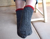 SALE 25% off dark gray socks red heart hand knit tweed warm socks Christmas winter holidays gift under 35 girls socks