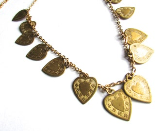 Vintage Brass Heart Charm Necklace Assemblage Valentines Day Jewelry Supply Heart Jewelry