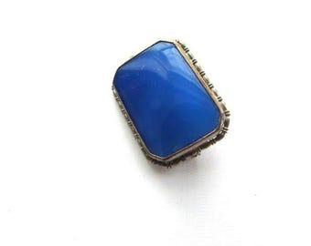 Art Deco Blue Glass Brooch Pin Czech White Metal Frame Chalcedony Like