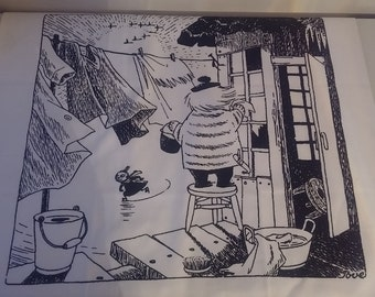 Laundry Day Moomin pillow case cotton fabric  black and white Finlayson