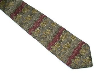 """Vintage Silk Neckwear 4"""" wide Brown Gold Burgandy Green Men's Necktie by Barrington"""