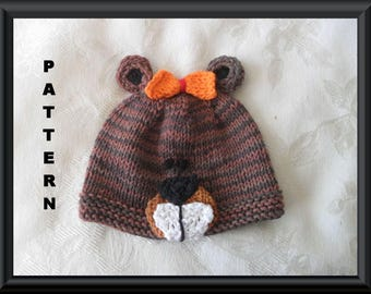 Knitted Hat Pattern Baby Hat Pattern Instant Download Hat Pattern Infant Hat Pattern Beaver Hat Pattern Halloween Baby Hat:  BUCKY BEAVER