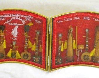 Vintage Miniature Vietnam Wood Musical Instruments in Folding Decorative Shadow Box, Asian Decor Display Case