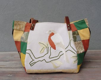Woodland Bird Bag - Vintage Embroidery, Earthy Colors, Patchwork and Leather Bag.