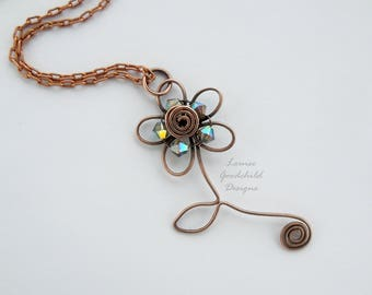 Copper Daisy pendant, sparkly daisy necklace, wirework necklace, wire daisy pendant, wire flower necklace, daisy jewellery, marguerite