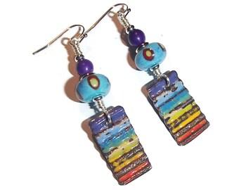 Enamel Earrings Rainbow Enamel Drop Enamel and Lampwork Earring Rainbow Enamels E83
