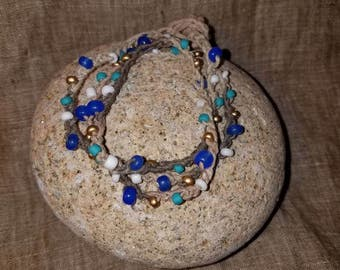 Beaded Bohemian Wrap Bracelet, Gypsy, Hemp, Crochet