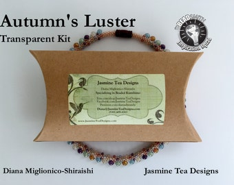 Autumn's Luster,  Transparent, Beaded Kumihimo Necklace Kit and Tutorial, A Fully Beaded Kumihimo Necklace