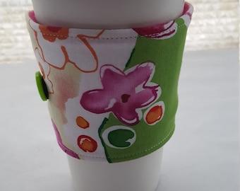 Reusable Coffee Cozie Sleeve Green Pink Flowers