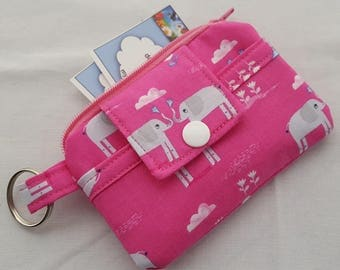 Zipper Wallet Pouch Key Chain Card holder - Elephant Showers Elephants Pink