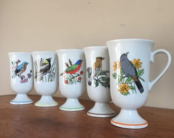 Set of 5 Vintage Bird and Nature Coffee or Tea Mugs