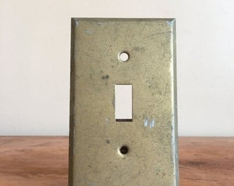 Holiday Sale. Vintage Light Switch Gold Toned Metal Outlet Cover