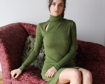 tunic sweater dress with turtleneck and asymmetrical neckline - wool blend womens lounge wear range MALLARD - made to order