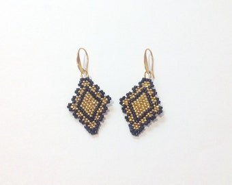 Earrings in Jet Black and gold holiday earrings
