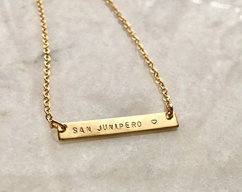 Small Gold Nameplate necklace | Gold ID Necklace | Silver ID NameTag Necklace | Personalized Custom Handstamped Engraved Jewelry