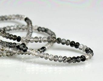 Black Rutilated Quartz Rondelles AAA Quartz Micro Faceted Beads 3.5-4.25mm