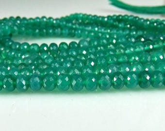 Green Onyx Rondelle Beads AAA Micro Faceted Onyx Beads 3.80-5.5mm, 8 inches