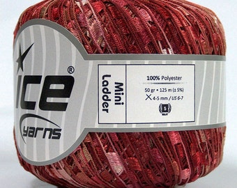 ice yarns mini ladder ribbon yarn trellis Salmon Pink Burgundy Trellis 1 skein knitting crochet daily bulky chunky 46512