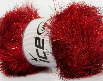 ICE YARNS eyelash dazzle red metallic lurex 1 skein 100gr polyester fancy bulky shimmering knitting crochhet supplies 42265