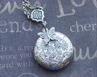 Silver Locket Necklace, Flower Jewelry, Butterfly Locket, Child's Locket, Photo Picture Locket, Wedding Jewelry, Stocking Stuffer GIFT Bride