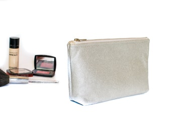 Silver Metallic Linen - Medium Cosmetic Bag with Zippered top - 10 x 5 x 2