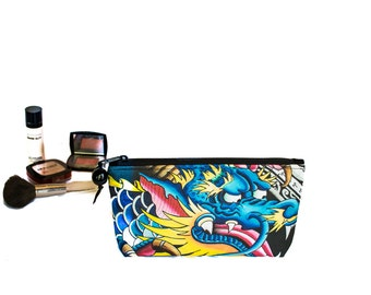 Keahi Raikes Dragon Tattoo - Medium Cosmetic Bag with Zippered top - 10 x 5 x 2