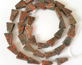 Indian Unakite Triangle Gemstone Beads 14-Inch Long Strand