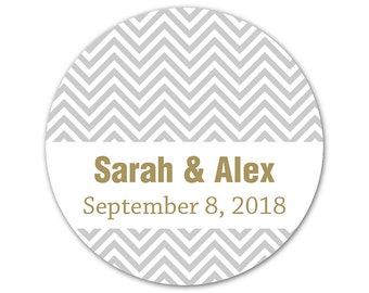 Personalized Wedding Stickers - Custom Labels - Chevron Stickers - Zig Zags - Modern Stickers - Favor Stickers - Custom Wedding Labels