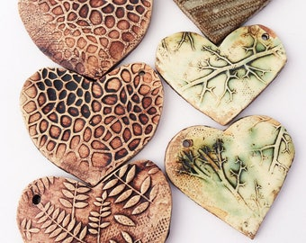 Clay Heart with Textures, Textured Bead, Large Scale Bead, Pendant, Roots Leaves Reptile Scales Giraffe Pattern