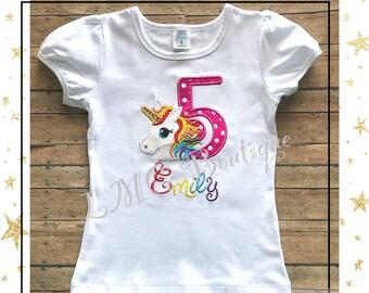 Rainbow Unicorn birthday shirt - Personalized Unicorn Birthday Shirt Number - Unicorn birthday shirt - Unicorn Applique Shirt with number