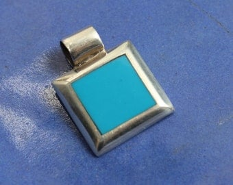 Sterling Silver Turquoise Pendant 925 Modern VINTAGE by Plantdreaming