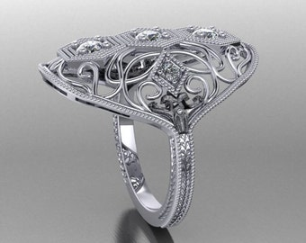 A modern twist to a 1930's Vintage ring in Platinum