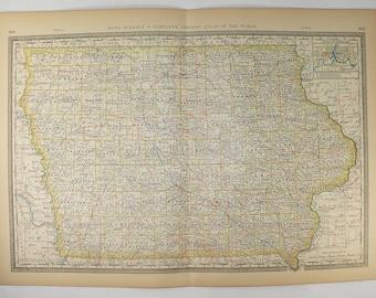 1881 Rand McNally Iowa Map, Original Antique IA Map, Iowa Gift for Family, Housewarming Gift, Antique Wall Map, Iowa Railroad Map