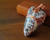 leopard  jasper and copper wire wrapped pendant. Simple design.