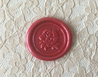 Beauty and the Beast Rose Peel  and Stick Flexible Wax Seals, 1.2 Inches in Size with One Inch Adhesive in Mettalic Red Sample