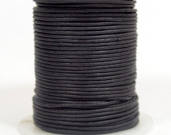 1mm Round Indian Leather - Natural Matte Black - DC1