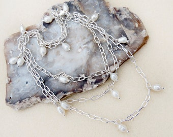 Long Silver Chain Necklace with Pearl Drops, Hand Wire Wrapped, White Freshwater Pearls, Wear Long or Doubled, Neutral, Handmade Jewelry