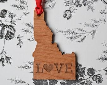 LOVE Engraved Idaho Ornament