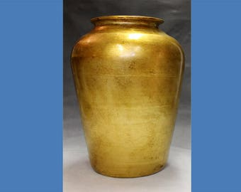 Decorative ceramic floor vase, decorated with imitation gold leaf, and covered with a transparent acrylic protective coating.