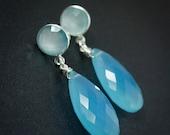 CHRISTMAS SALE Silver Aqua Chalcedony & Blue Chalcedony Drop Earrings - Winter Blues