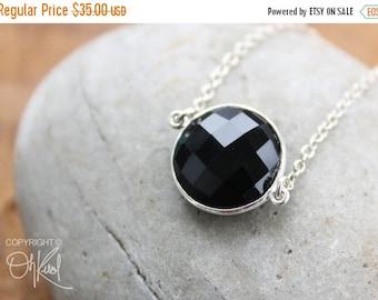 CHRISTMAS SALE Silver Black Onyx Bezel Necklace - Gemstone Necklace - 925 Sterling