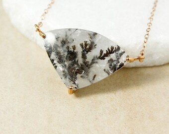 CHRISTMAS SALE Woodland Tree Dendritic Quartz Necklace, Dendrite Necklace, One of a Kind