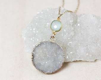 50 OFF SALE Aqua Chalcedony and Blue Druzy Necklace – 14k Gold Filled Chain